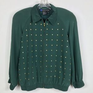 IB Diffusion | Vintage Green Gold Studded Jacket for sale